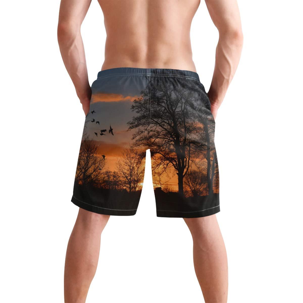 Mens Beach Swim Trunks Sunrise Bird Tree Boxer Swimsuit Underwear Board Shorts with Pocket