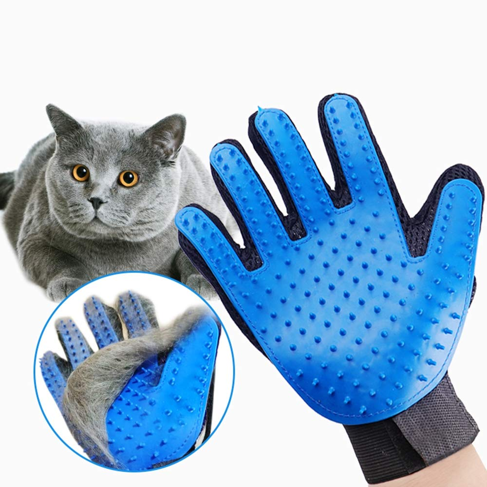 ZLBPET Pet Grooming Gloves Hair Removal Gloves Five-Finger Design Fully Cleaned Non-Toxic Silicone Efficient Hair Removal Thicken Breathable Mesh Anti-Break Bite,Blue,Left