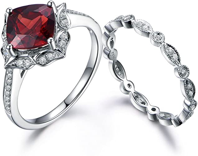 Amazon Com Myraygem Wedding Ring Sets Red Garnet Bridal Ring Set
