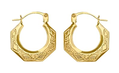 Adara 9 ct Yellow Gold Small Patterned Creole Earrings jiuuCQynO