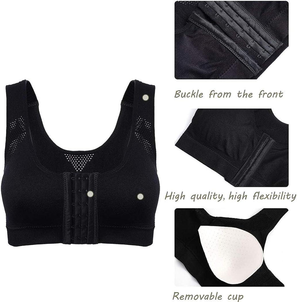 Briskaari Yoga Bra Black Running Bras Adjustable Front Closure Sports Bras for Women and Girls