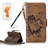 Girlyard for iPhone 5/5S/SE Wallet Leather Case,Love Heart Floral Butterfly Design Premium Soft PU Leather +TPU Silicone Inner Bumper Flip Case Magnetic Wallet Full Protection Case Cover with Magnetic Clasp, Wrist Strap and Card Slots Holder-Brown