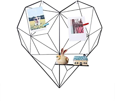 iShine Heart Shaped Wall Grid Panel Creative Iron Wall Photo Frame Picture Display Hanging Wall Photo Message Board