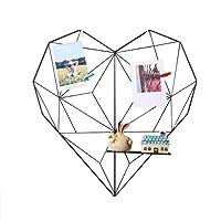 Prom-near DIY Fotowand Griglia in ferro per foto da parete decorazione plaid foto da appendere alla parete in famiglia, cucina, ufficio, 50 x 50 cm cuore, Nero