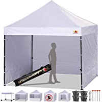 ABCCANOPY 10 x 10 Ez Pop-up Canopy Tent Commercial Instant Tents Market stall with 4 Removable Sidewalls and Roller Bag Bonus 4 Weight Bags and 10ft Screen Netting and 10ft Half Wall (White)
