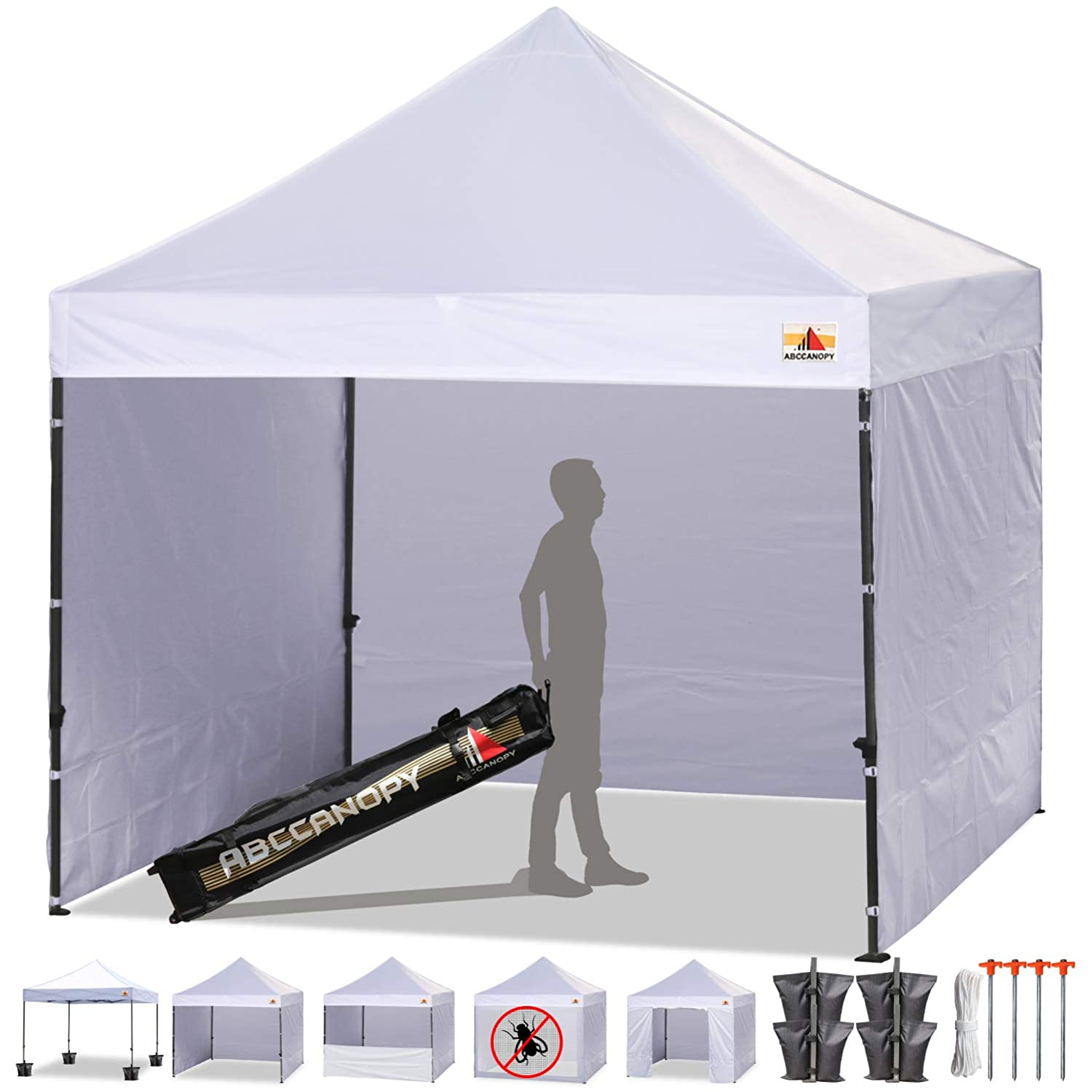 ABCCANOPY Canopy Tent Popup Canopy 10×10 Pop Up Canopies Commercial Tents Market stall with 6 Removable Sidewalls and Roller Bag Bonus 4 Weight Bags and 10ft Screen Netting and Half Wall, White