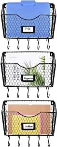 Stegodon 3-Tier Hanging File Organizer Magazine Paper Rack Basket Metal Chicken Wire Wall Mount File Holders with Tag Slot for Home, Office Accessories, Black