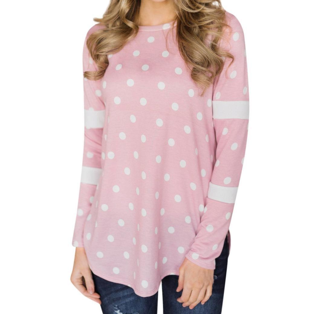Women Casual Sweatshirt Stripe Dots Splice Loose Top Long Sleeve O-Neck Shirt(Pink,Small)