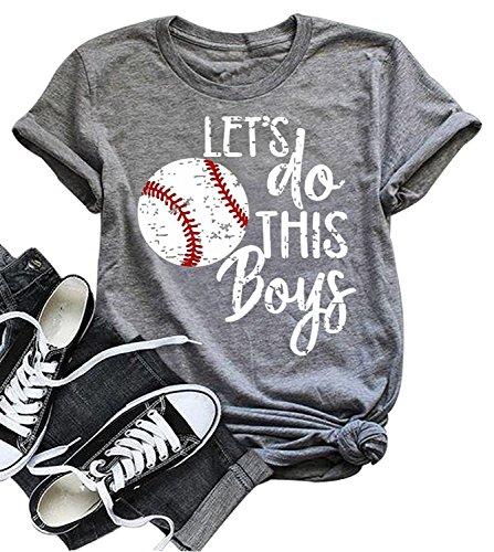 Baseball T-shirt Sayings - Women Fashion Baseball Mom Letters Print T Shirt Let's Do This Boys Funny Saying Tops (Medium, Gray)