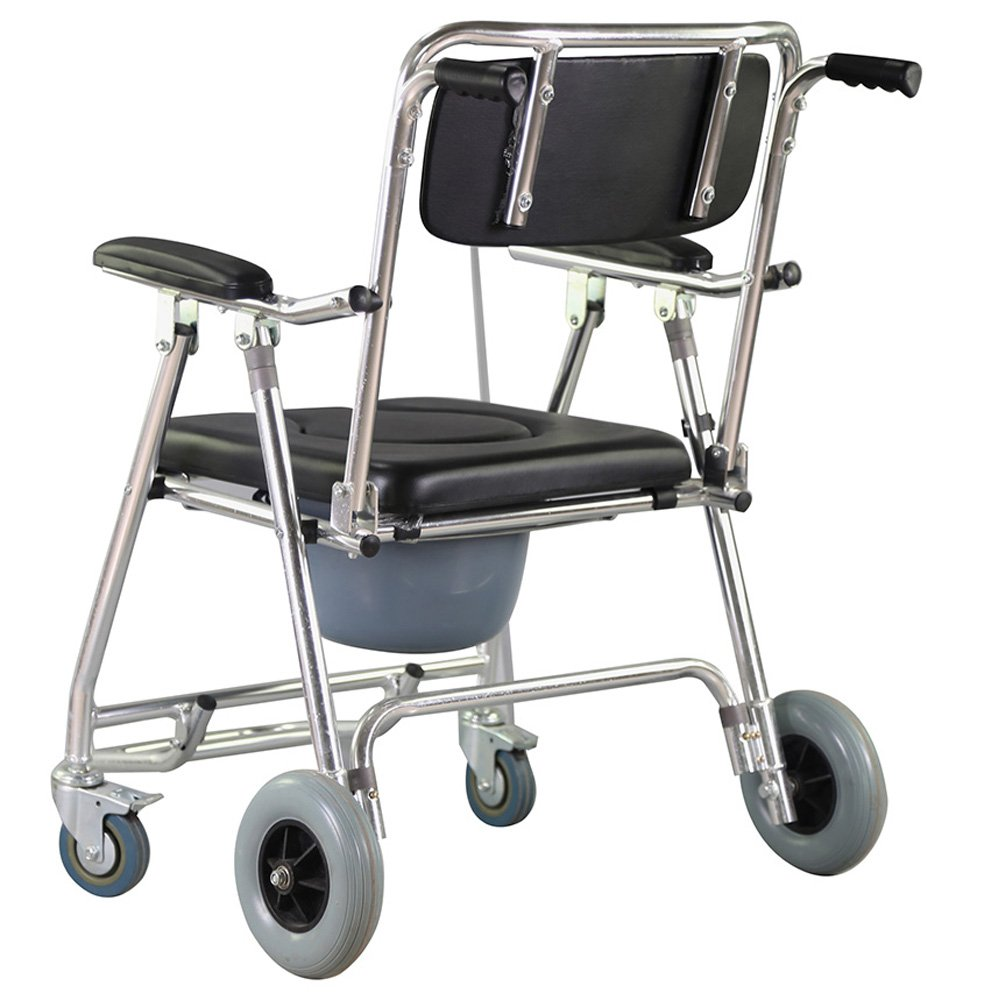 Genmine Mobile Commode Wheelchair With Assistive Seat Shower Toilet Chair with 4 Brakes and Padded Toilet Seat Wheels & Footrests Bedside Shower Transport Chair With Arms SHIPPING FROM US by Genmine (Image #3)