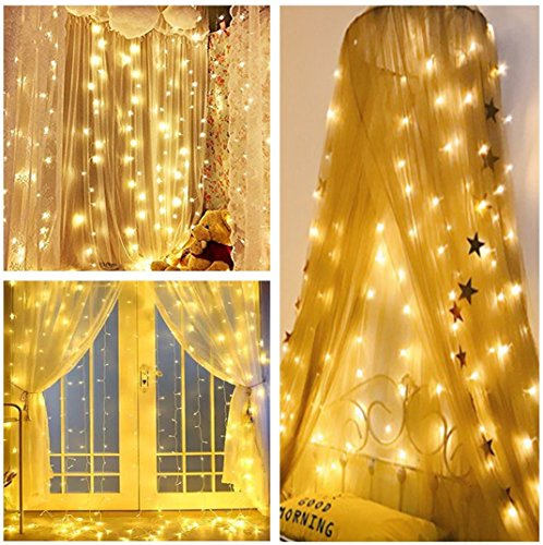 Lightess Curtain Icicle Lights 600 LED String Fairy Lights 8 Modes for Indoor/Outdoor Christmas Lights Decoration Warm White, 19.68ft Length x 9.84ft - Christmas Lights Background Blinking