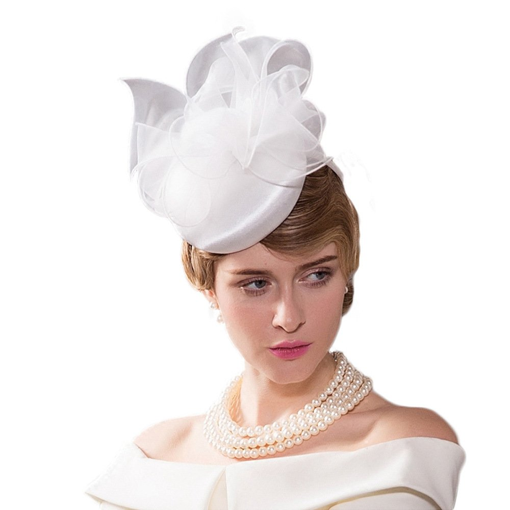 Pillbox Hat Vintage Wedding Hats Womens Fascinator Flowers Cocktail Church  Hats at Amazon Women s Clothing store  922668e64dc