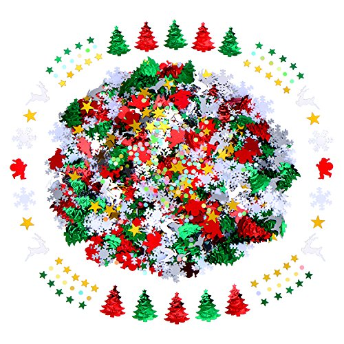 60 g Mixed Christmas Embossed Confetti include Santa Snowflakes Reindeer Christmas Tree Confetti Decorations for Christmas Party,4 Pack