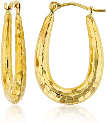14kt Yellow Gold Gold Polished and Textured Hoop Earrings