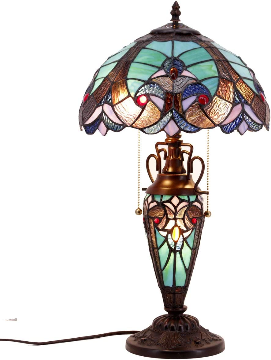 Stained Glass Table Lamp 3 Light W12 H22 Inch Tiffany Style Green Liaison Night Light for Living Room Bedroom Antique Dresser Coffee Table Beside Bookcase S160G WERFACTORY