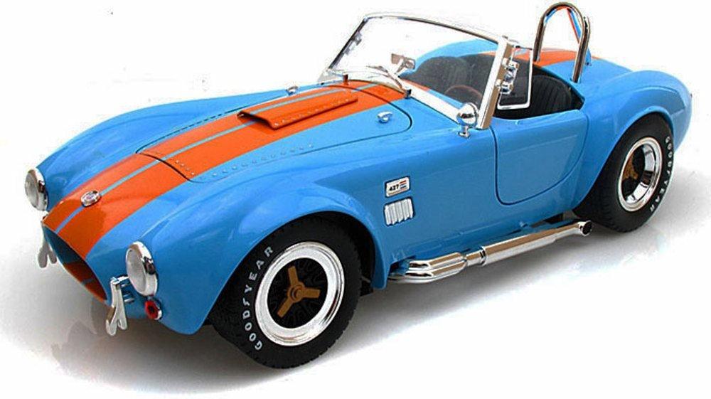 1965 Shelby Cobra 427 S/C Convertible, Blue w/ Orange Stripes - Shelby SC129 - 1/18 Scale Diecast Model Toy Car