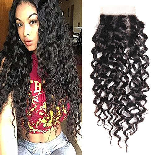 Water Wave Closure 10 inch 4x4 Top Lace Closure With Baby Hair Free Part Lace Closure 10a Peruvian Virgin Human Hair Closure 130% Density Curly Weave Closure None Bleached Knots Natural Color