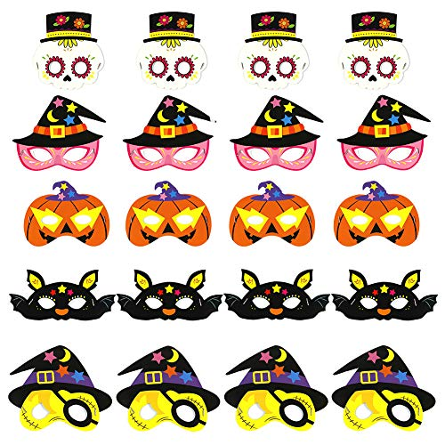 Masks Kids Cosplay, Angela&Alex 20PCS Photo Booth Props Party Supplies Pumpkin Bat Masks for Kids & Adults Dress-up Costume Trick-or-Treat Fancy Party