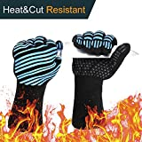 932℉ Extreme Heat Resistant BBQ Gloves, Food Grade Kitchen Oven Gloves - Flexible Hot Grilling Gloves with Cut Resistant, Silicone Non-Slip Cooking Gloves for Grilling, Welding, Cutting (1 Pair)