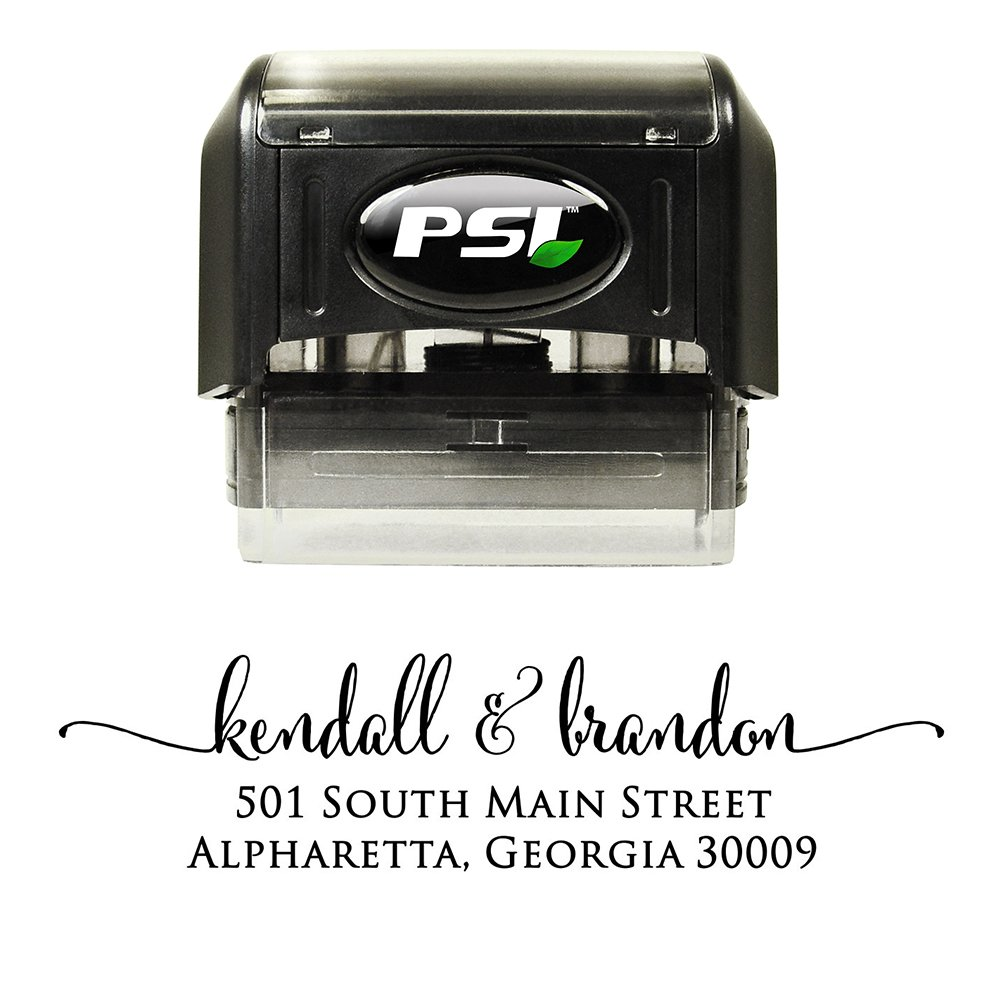 Custom Address Stamp - Self Inking - Calligraphy Script Return Address Stamp - Black Ink