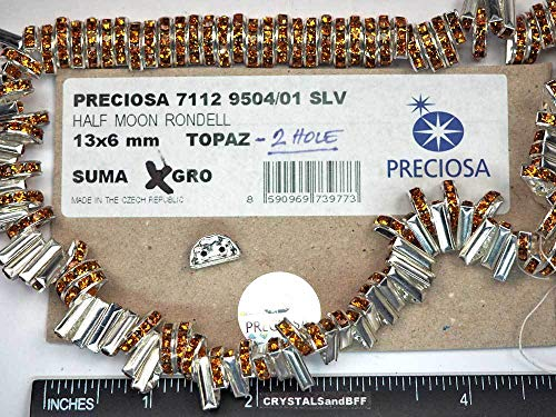 Preciosa Genuine Czech Rhinestone 2-Hole Half Moon Rondelles 13x6mm Topaz, Silver Plated Spacers, 24 Pieces, P367