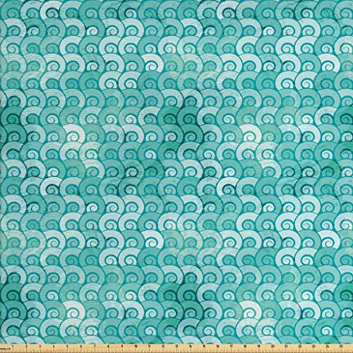 Ambesonne Ocean Fabric by The Yard, Abstract Swirled Sea Waves Pattern Spiral Forms Marine Theme Curvy Aquatic Artwork Print, Decorative Fabric for Upholstery and Home Accents, 2 Yards, Aqua