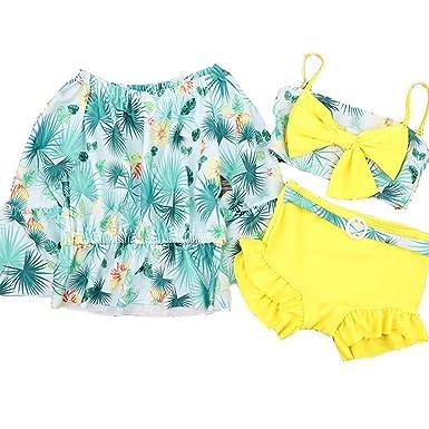 スイミング Ymgot 子供 ビキニ 水着 キッズ 3点セット水泳 女の子 日焼け対策 長袖 花柄 水着 セパレート