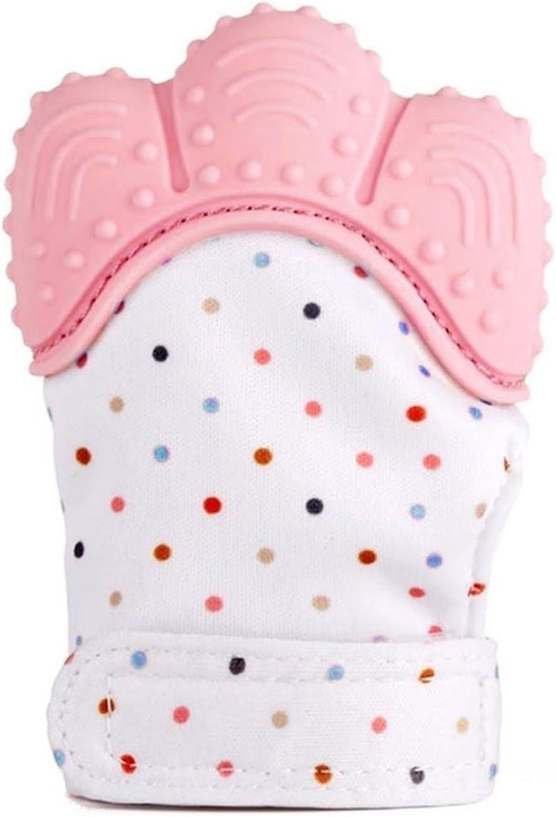 Pink Funky Planet gant de dentition en silicone gant de dentition mitaine de dentition en silicone pour un soulagement de la douleur auto-apaisant bavoir gratuit