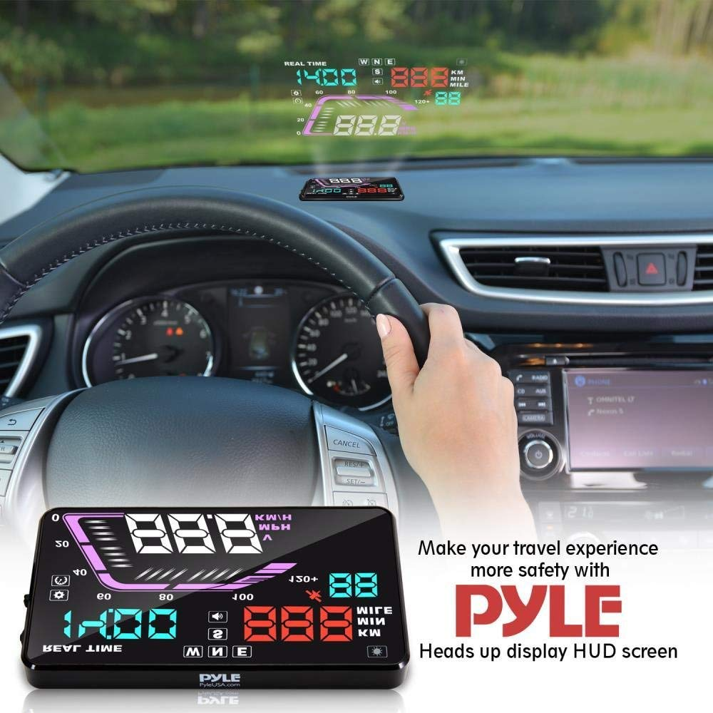 Heads Up Display HUD Screen - Universal 5.5'' Car Head-Up Windshield Display w/Multi-Color Screen Projector Vehicle Speed, GPS Navigation Compass, Plug and Play w/Speed, Time, Altitude, Etc - Pyle by Pyle