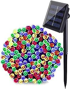 MAOKOT Solar String Lights, 8 Modes 72ft 200 LED Solar Powered String Lights, Waterproof Solar LED Christmas String Lights for Garden Fence Holiday Party Decor (Multicolor)