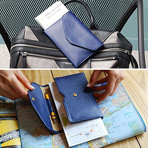 Women RFID Blocking Wallet, Teoyall Travel Passport PU Leather Long Trifold Wallet (Blue)