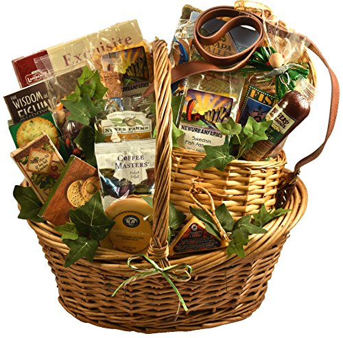 Fishing Gift Basket with Deluxe Fishing Creel - A Gift Basket For The Fishermen In Your Life -