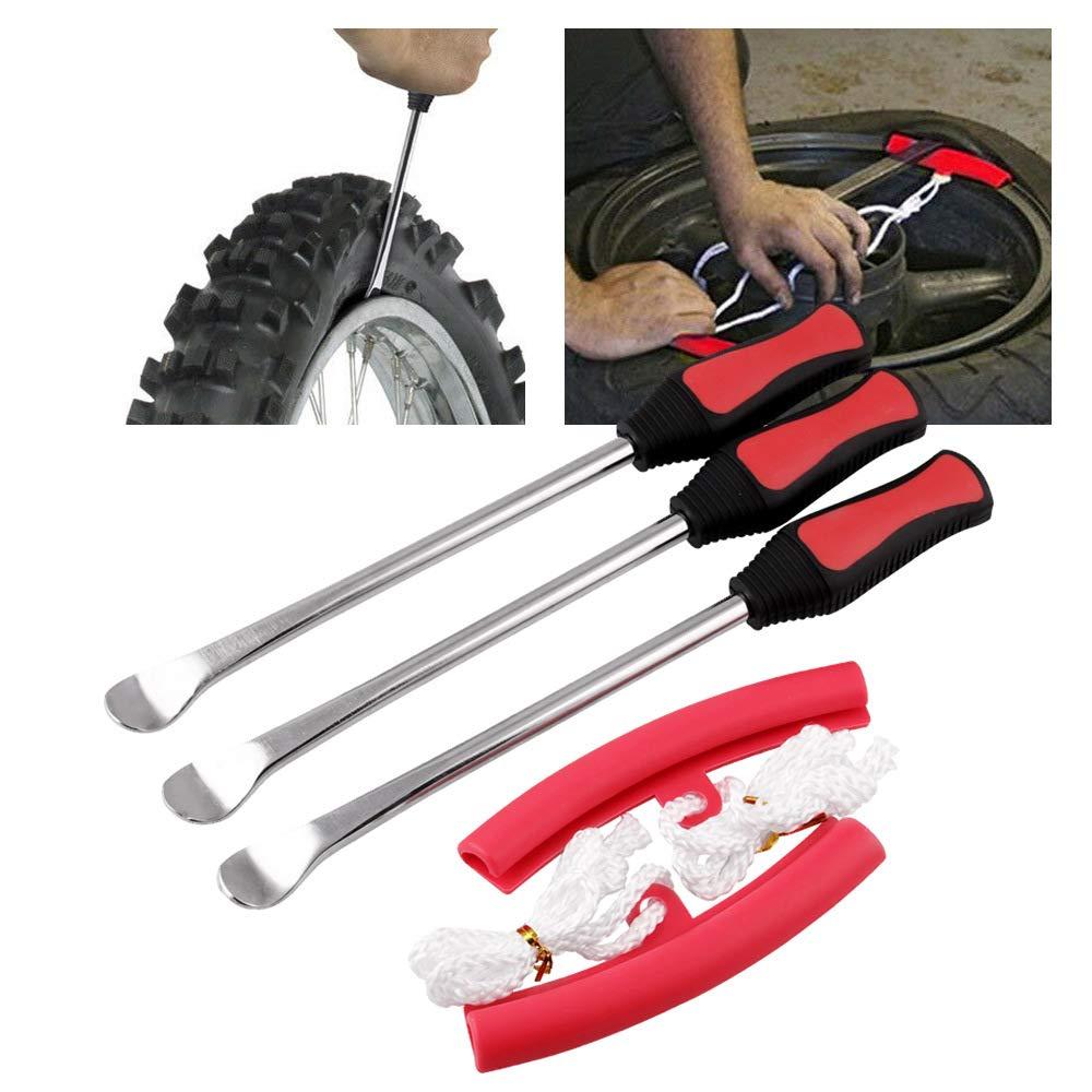 RONSHIN Kit di Attrezzi con 3 Leve per Pneumatici con 2 Protezioni per Cerchioni per Moto e Bici
