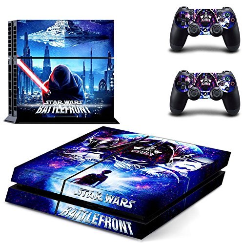 MightySticker® PS4 Designer Skin Game Console System + 2 Controller Decal Vinyl Protective Covers Stickers f Sony PlayStation 4 - Star Wars Battlefront Darth Vader Dark Lord Rise Sith Red Lightsaber ()