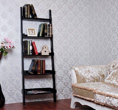 Homcom 72 Quot 5 Tier Wood Leaning Ladder Display Shelf Bookcase Black Buy Online In Uae