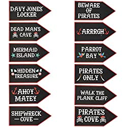 Pirate Party Supplies - 12-Pack Word Cutouts Signs for Theme Party Decorations, Kids Birthday Party Favors on 350 GSM Cardstock Paper, 17.5 x 8 Inches