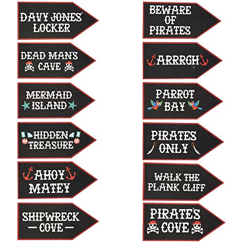 Pirate Party Supplies - 12-Pack Word Cutouts Signs for Theme Party Decorations, Kids Birthday Party Favors on 350 GSM Cardstock Paper, 17.5 x 8 Inches ()