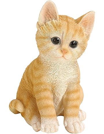 Dehner - Figura de Gato para decoración, en poliresina, marrón/Beige (Aprox