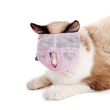 FOONEE Bozales para Gato, antiácaros, Transpirables, de Malla, para Evitar Que los