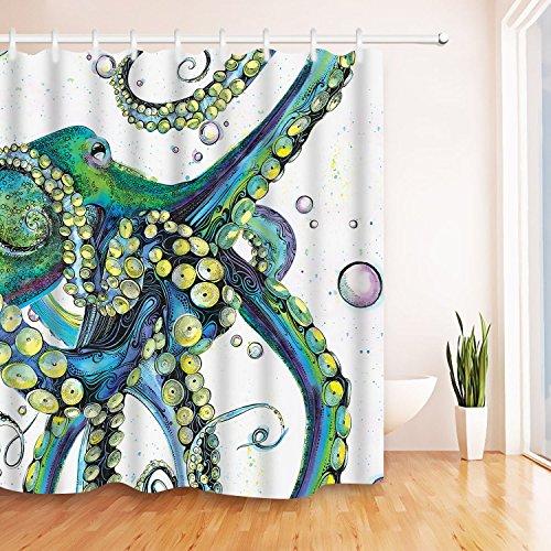 "modern timesm Bathroom Shower Curtain Mocha Tree Bathroom Curtain Durable Bath Curtain Bathroom Ideas Kitchen Window Curtain Farmhouse Country Home Woodland (Octopus, 75"" L × 69"" W)"