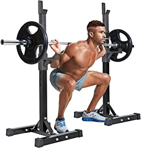 Dotlynn Squat Rack, Adjustable Height 31.5-63.8 inches Solid Steel Bench Presses, Home Gym Sturdy Portable Dumbbell Racks, Black