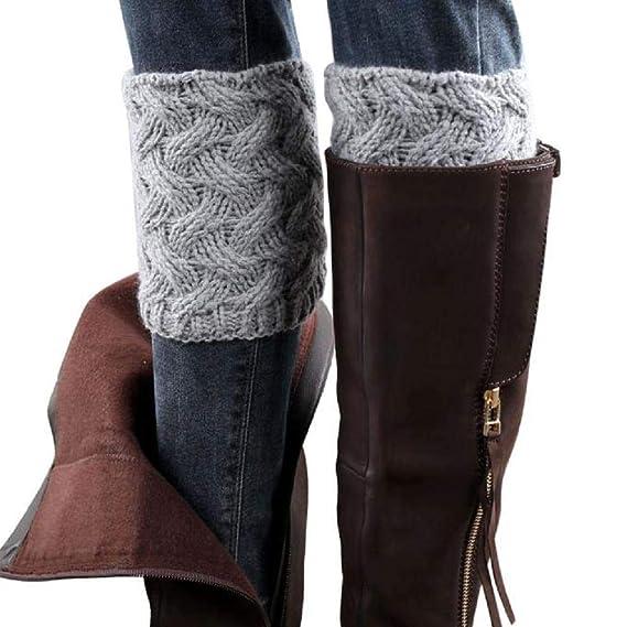 VJGOAL Mujer Invierno moda casual color sólido Aguja gruesa bambú tejido calcetines cubierta de la bota(Un tamaño, Beige): Amazon.es: Ropa y accesorios