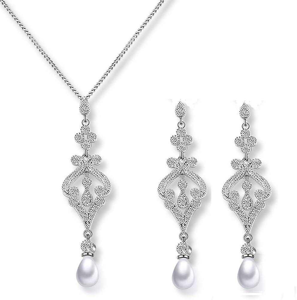 Hanie - Juego de joyas de perlas de plata para novia, pendientes largos y collares con circonita cúbica de Swarovski Elements de color blanco, para fiesta de compromiso o boda