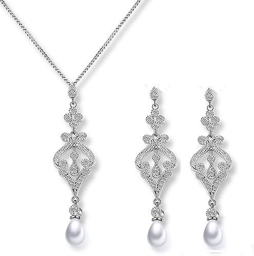 Juego de joyas de perlas de plata para novia, pendientes largos y collares con circonita cúbica de Swarovski Elements de color blanco, para fiesta de compromiso o boda