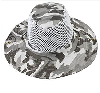 c6a7b908f62 Men Military Camo Bucket Hat with Strings Camping Hiking Travel Sniper Wide  Brim Boonie Hat Mesh