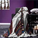 African Woman summer blanket Young Women in Stylish Native Costumes Carnival Festival Theme Dance Moves Flannel Multicolor size:50''x60''