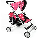 The New York Doll Collection First Doll Twin Stroller - Cutest Heart Design Baby Doll Strollers - Great Toy Gift for Toddlers