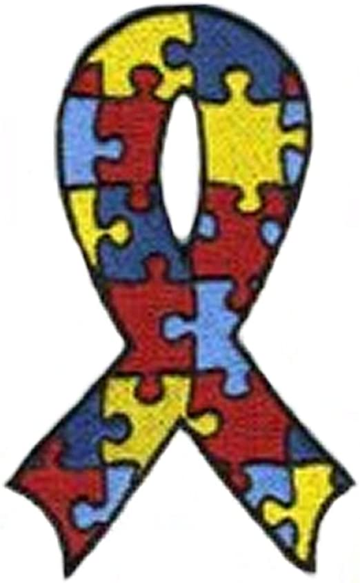 Autism Puzzle Piece Heart Patch Love Awareness Embroidered Iron On Applique