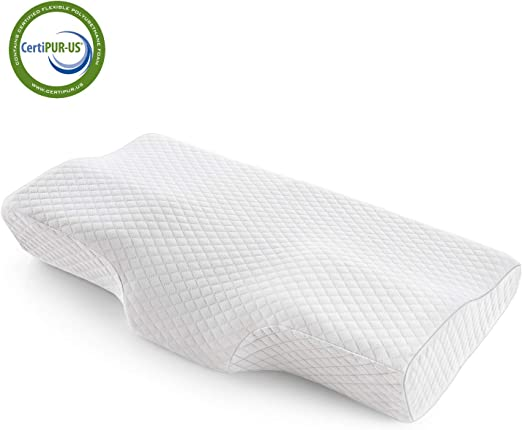 Memory Foam Pillow Cooling Gel Orthopedic Support Prevents Back Neck Pain Washable Cover