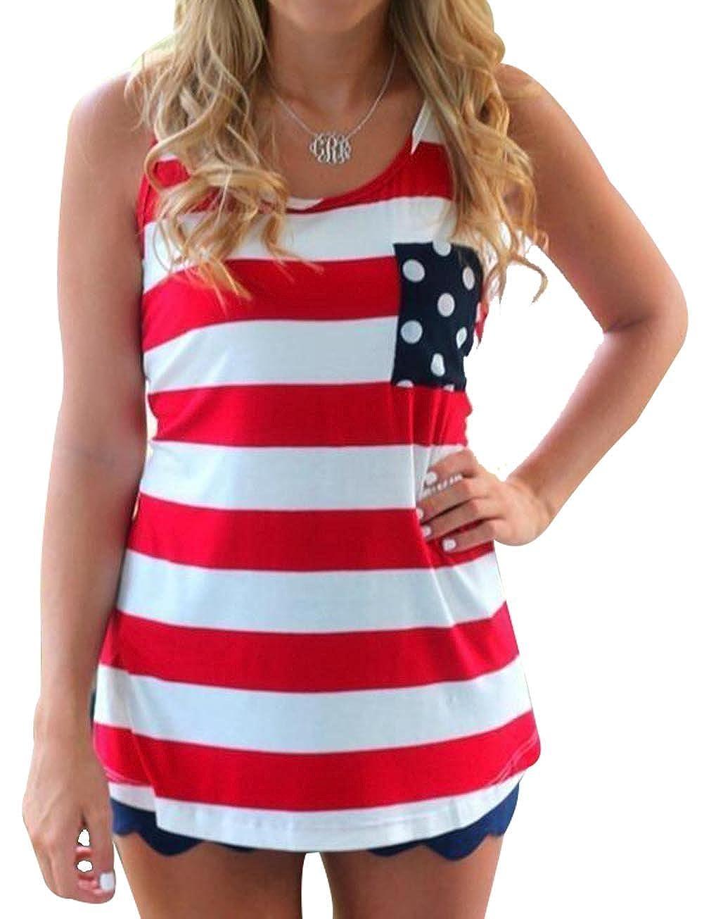 2b352707f15 Women Flag Striped Sleeveless Summer Tank Top Tees Casual Back Tie ...